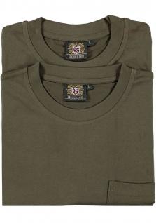 2er Pack Jagd T-Shirt für Trachten lederhosen Hirschstickerei Oliv