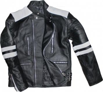 German Wear, Motorradjacke Oldschool Retro Lederjacke aus Rindsleder Jacke Schwarz/Weiß