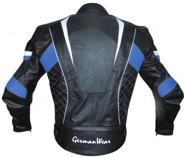 Motorradjacke Lederjacke Chopperjacke Cruiser jacke Schwarz/Blau - Vorschau 3