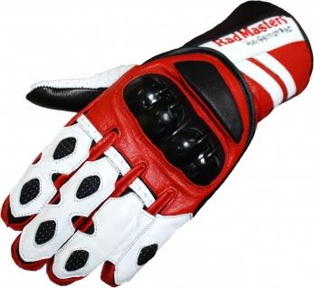 Motorradhandschuhe Motorrad Biker Lederhandschuhe rot/weiß