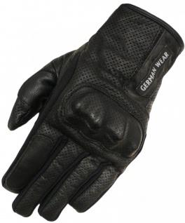 Motorradhandschuhe Biker Motorrad Leder handschuhe perforiert Schwarz