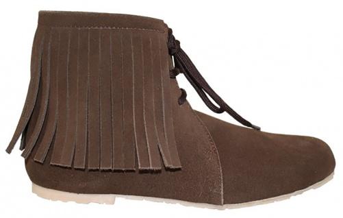 Western Trachtenschuhe Indianer Schuhe Cowboy Echtleder Wildleder Braun