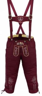German Wear, Damen Trachten Kniebundhose Jeans Hose kostüme mit Hosenträgern Weinrot - Vorschau 2