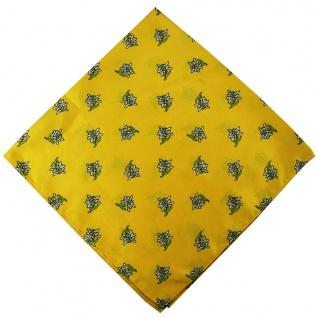 German Wear, Halstuch Trachtentuch mit Edelweissmuster nikituch 60x60cm gelb