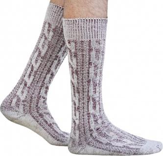 Kurze Trachtensocken Trachtenstrümpfe Zopfmuster Socken Natur/Weinrot meliert - Vorschau 1