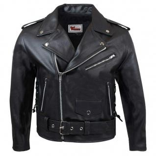 Lederjacke Motorradjacke Brando Rockabilly Chopper Jacke mit Seitenschnürung, Schwarz