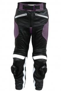 German Wear, Damen Motorradhose Motorrad Biker Racing Lederhose Rindsleder Schwarz/Lila