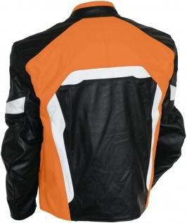 Lederjacke Motorradjacke Kombijacke in der Farbe Schwarz/Orange - Vorschau 2