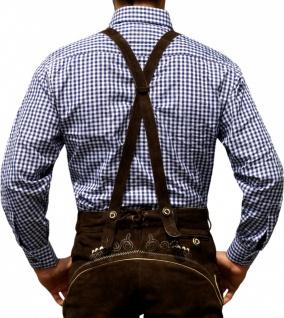 Trachtenhemd für Trachtenlederhosen Oktoberfest Trachtenmode Blau/karo 100% Baumwolle - Vorschau 2