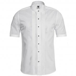 Trachtenhemd Businesshemd 2x5 Biesen Stehkragen Hemd Halbarm Baumwolle