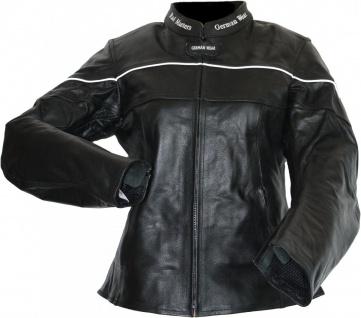 German Wear, Damen Lederjacke Motorradjacke aus Rindsleder Touring Kombijacke schwarz