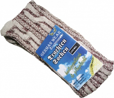 Kurze Trachtensocken Trachtenstrümpfe Zopfmuster Socken Natur/Weinrot meliert - Vorschau 2