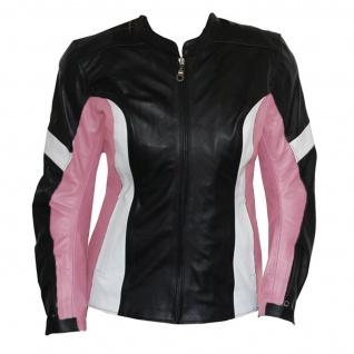 German Wear, Damen Lederjacke Motorradjacke aus Rindsleder Kombijacke Schwarz/Pink