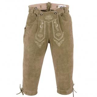 Trachten Lederhose Kniebundhose trachtenhose mit Hosenträger Beige