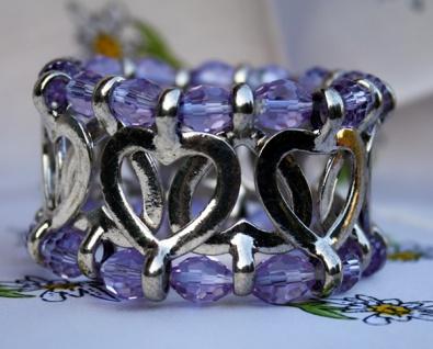 Trachtenarmband Armband Trachtenschmuck lila Herzen