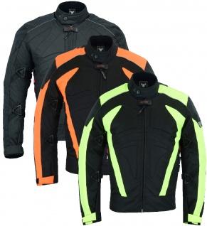 Motorradjacke Cordura Textilien kurze Jacke Schwarz, Grün & Orange