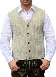 German Wear, Trachten Wolljanker Strickweste Tracht Weste beige