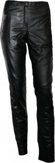 German Wear, Damen Lederhose aus Lammnappa Leder Leggings mit elastan echtleder Hose schwarz