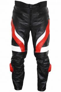 German Wear, Motorradhose Motorrad Biker Racing Lederhose Schwarz/Rot