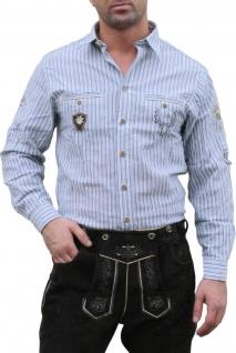 German Wear, Trachtenhemd für Lederhosen mit Verzierung blau/gestreift