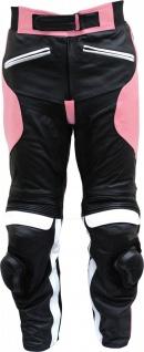 German Wear, Damen Motorradhose Motorrad Biker Racing Lederhose Rindsleder schwarz/pink