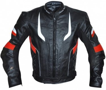 Motorradjacke Lederjacke Chopperjacke Cruiser jacke Schwarz/Rot