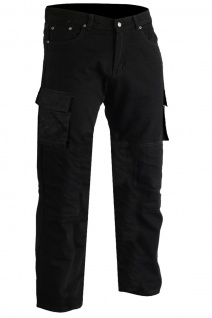 GermanWear® Motorradhose Motorradjeans, Futter aus Kevlar® stoff Cargohose mit Protektoren schwarz