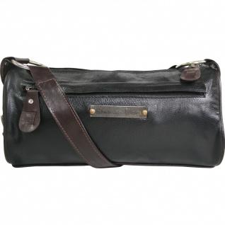 German Wear, Damen Clutches Lederhandtasche Ledertasche Handtasche Tasche Tragetasche braun/schwarz