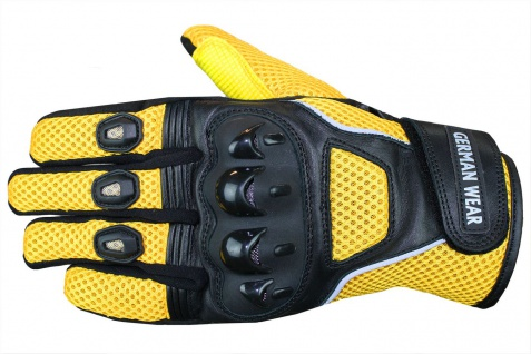 Motocross Motorradhandschuhe Biker Handschuhe Textilhandschuhe Gelb - Vorschau 2