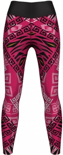 German Wear, Leggings Tights dehnbar für Sport Gymnastik Training Yoga Tanzen Aztec pink/schwarz