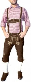 German Wear, Kniebundhose Trachten lederhose Wildbockleder Ziegenleder mit Hosenträgern, Braun