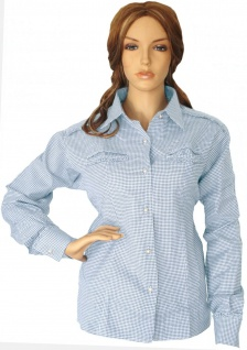 Trachtenbluse Bluse für damen Trachten Lederhose Trachtenmode hellblau karo