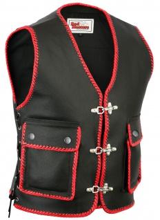 Leder Motorrad Kutte Karabiner Lederweste Bikerweste Motorradweste schwarz/rot geflochten