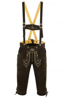 German Wear, Trachten Lederhose Kniebundhose trachtenhose mit Hosenträger Braun - Vorschau 2