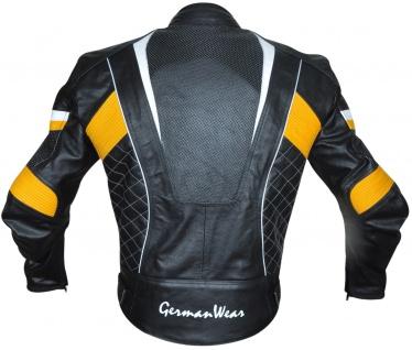 Motorradjacke Lederjacke Chopperjacke Cruiser jacke Schwarz/Gelb - Vorschau 3