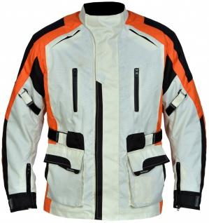 Motorradjacke Bikerjacke aus Textilien Kombigeeignet, Creme/Schwarz/Orange
