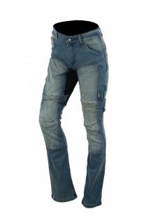 German Wear, Damen Kevlar Motorradjeans Motorradhose Denim Jeans Hose mit Protektoren blau