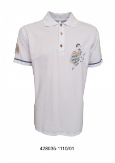 German Wear, Trachten Poloshirt T-shirt weiß mit kleinem Aufdruck und blauer Naht