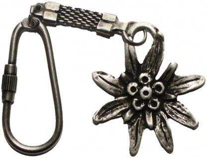 Trachten Schlüssel anhänger aus Metall, mit Edelweiß
