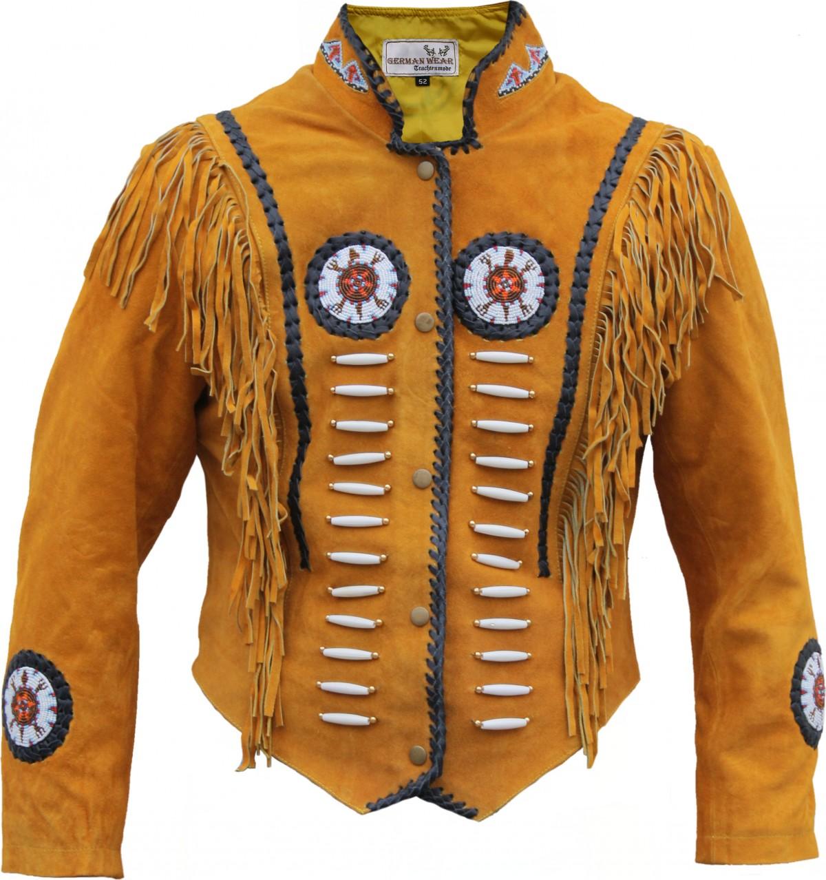 German Wear, Western Lederjacke Indianer Tracht Westernjacke Reiter Jacke Ocker