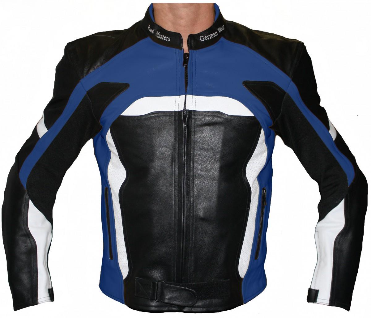 Biker Germanwear Lederjacke Schwarzblau Rindsleder Motorradjacke BorxdeCW
