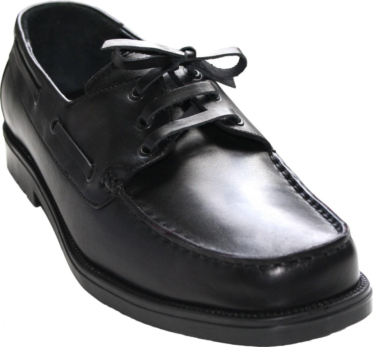 Stiefelschuhe Segelschuhe Halbschuhe aus echtleder Rindsleder Schuhe schwarz