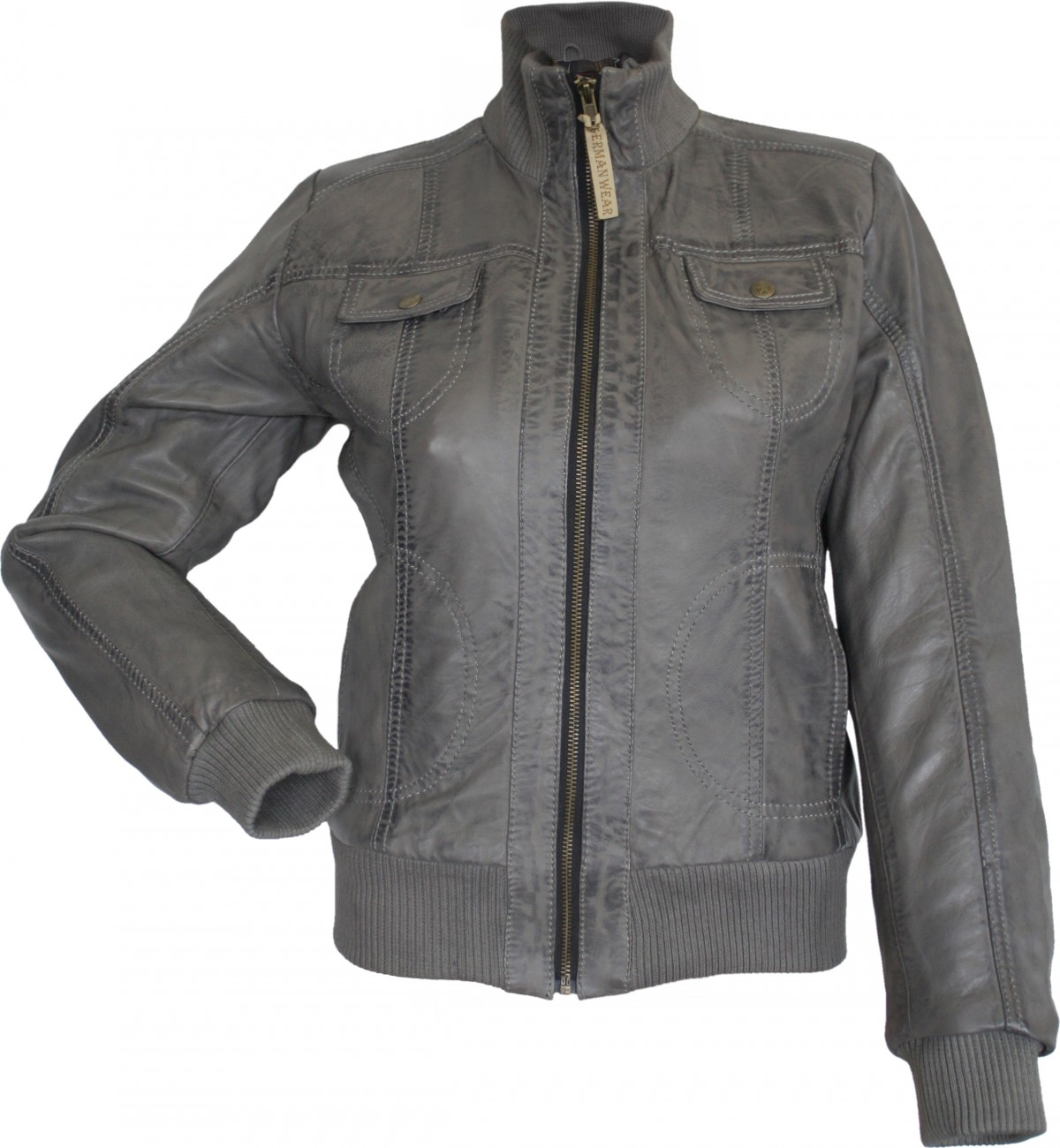 new concept ae0dc 30efd German Wear, Damen Lederjacke Trend Fashion echtleder Jacke aus Lamm Nappa  Leder grau