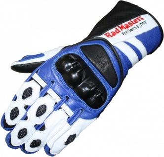 German Wear, Motorradhandschuhe Motorrad Biker Lederhandschuhe blau/weiß