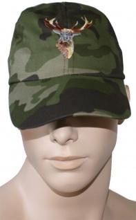 Jagdmütze Jägermütze Hunting cap aus Textilien Hirsch bestickt Tarnung