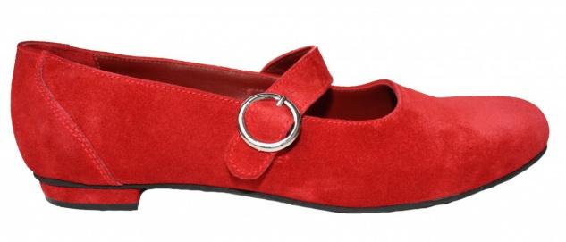 German Wear, Trachtenschuhe Ballerina Velourleder Trachten Schuhe Rot