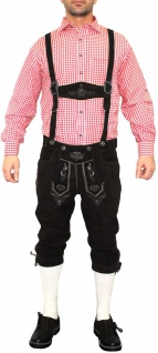German Wear, Trachten Lederhose Kniebundhose trachtenhose mit Hosenträger schwarz - Vorschau 3
