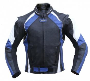 Lederjacke Motorradjacke Jacke aus leder Kombijacke Schwarz/Blau