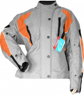 German Wear, Damen Motorradjacke Textilienjacke Grau Orange