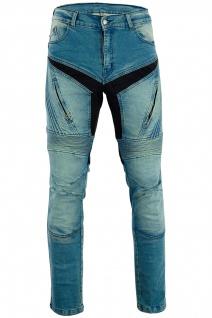 BULLDT Herren Kevlar Motorradjeans Motorradhose Denim Jeans Hose mit Protektoren blau